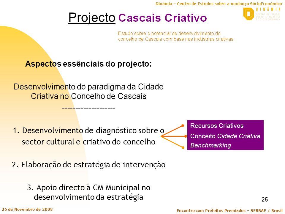 Dinâmia – Centro de Estudos sobre a mudança SócioEconómica Encontro com Prefeitos Premiados – SEBRAE / Brasil 26 de Novembro de 2008 25 Aspectos essên