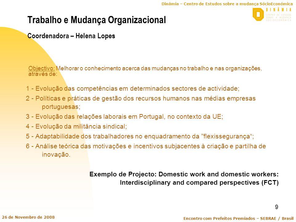Dinâmia – Centro de Estudos sobre a mudança SócioEconómica Encontro com Prefeitos Premiados – SEBRAE / Brasil 26 de Novembro de 2008 9 Trabalho e Muda