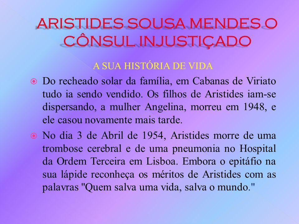 A SUA HISTÓRIA DE VIDA Regressando a Portugal, Aristides foi dado como culpado no inquérito disciplinar e despromovido Salazar reformá-lo-ia compulsiv