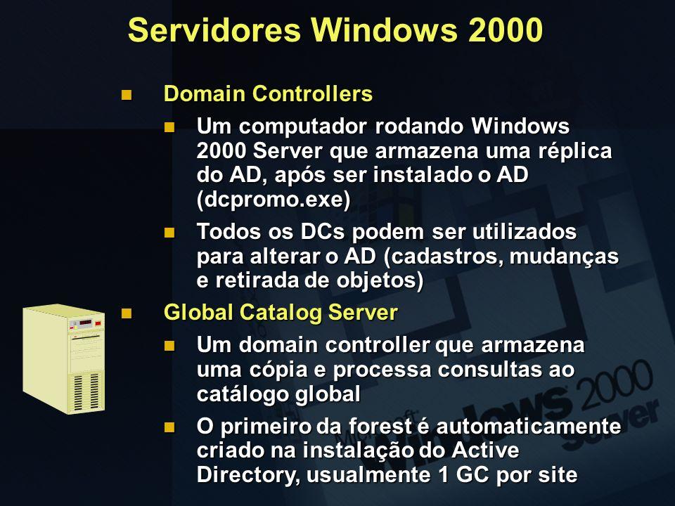 Domain Controllers Domain Controllers Um computador rodando Windows 2000 Server que armazena uma réplica do AD, após ser instalado o AD (dcpromo.exe)