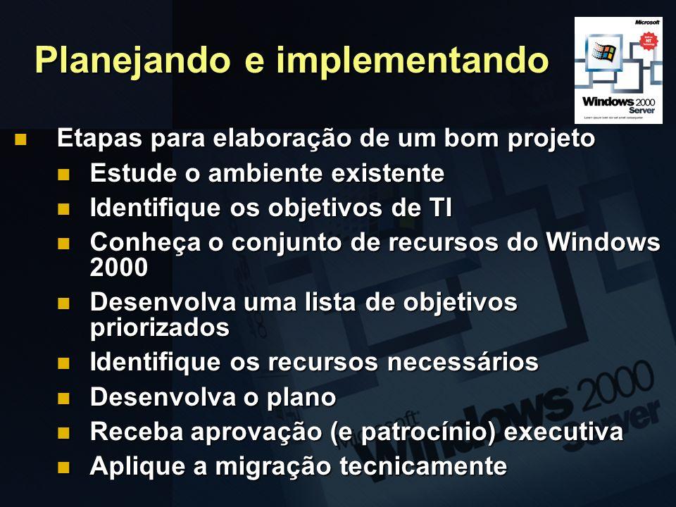 Planejando e implementando Etapas para elaboração de um bom projeto Etapas para elaboração de um bom projeto Estude o ambiente existente Estude o ambi