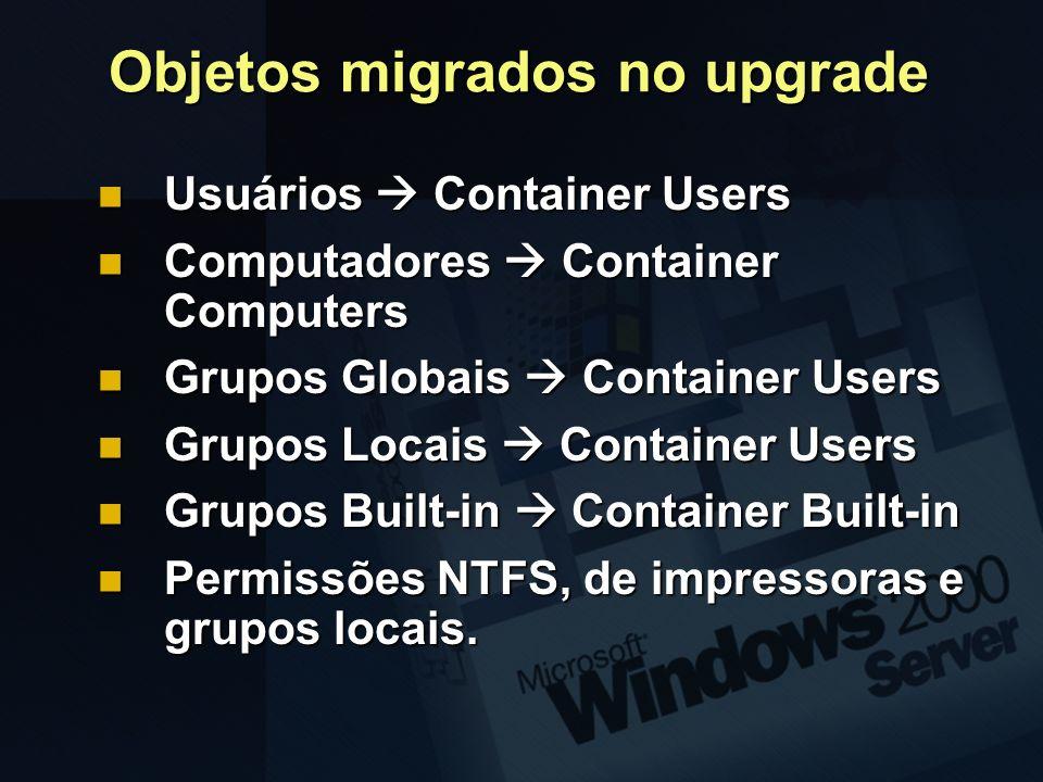 Objetos migrados no upgrade Usuários Container Users Usuários Container Users Computadores Container Computers Computadores Container Computers Grupos