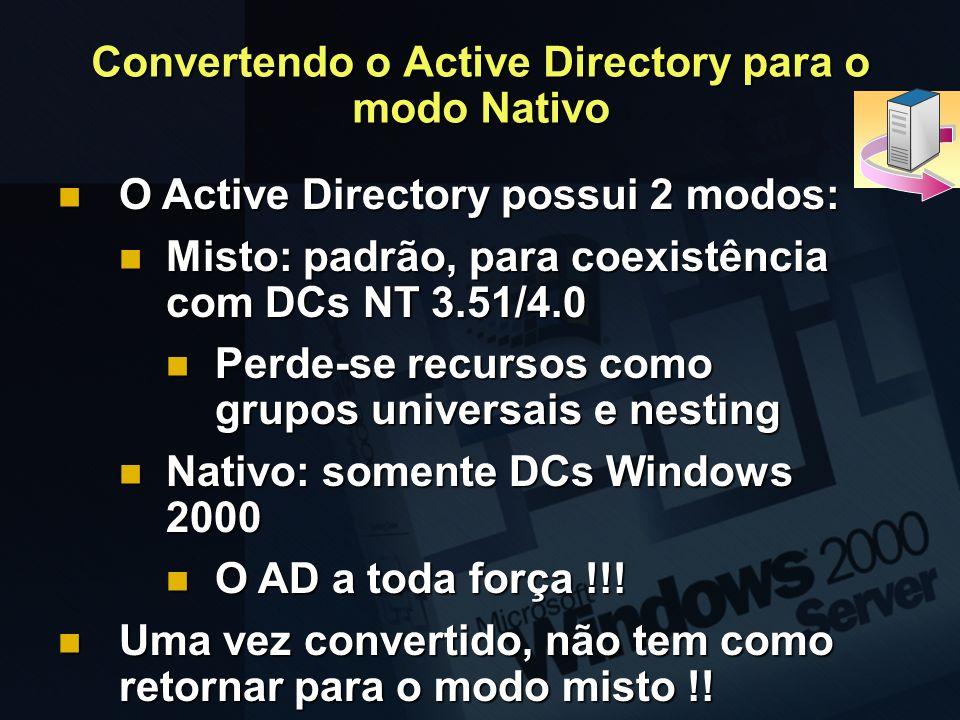 Convertendo o Active Directory para o modo Nativo O Active Directory possui 2 modos: O Active Directory possui 2 modos: Misto: padrão, para coexistênc