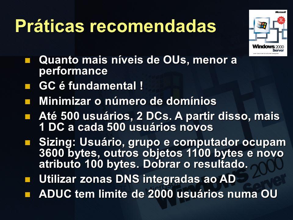 Práticas recomendadas Quanto mais níveis de OUs, menor a performance Quanto mais níveis de OUs, menor a performance GC é fundamental ! GC é fundamenta