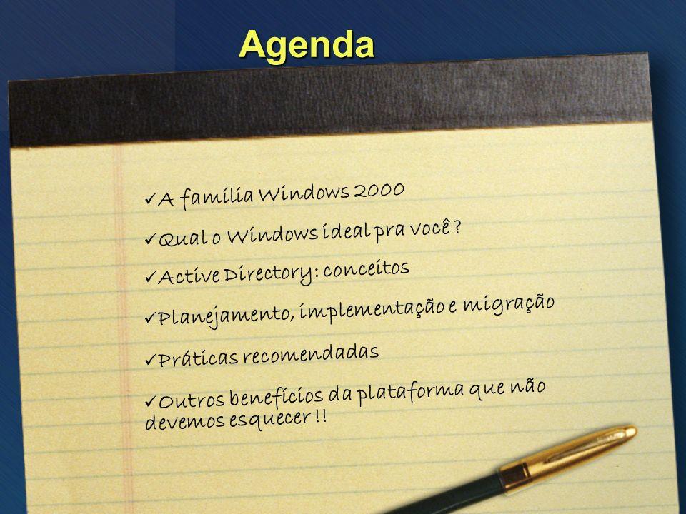 Agenda A família Windows 2000 Qual o Windows ideal pra você ? Outros benefícios da plataforma que não devemos esquecer !! Active Directory: conceitos