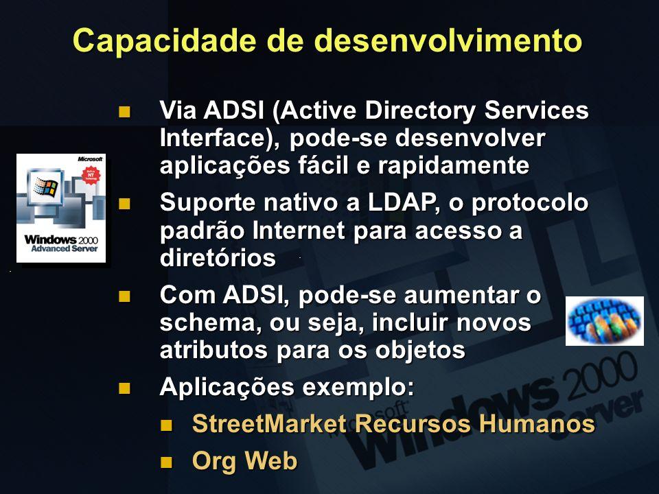 Capacidade de desenvolvimento Via ADSI (Active Directory Services Interface), pode-se desenvolver aplicações fácil e rapidamente Via ADSI (Active Dire