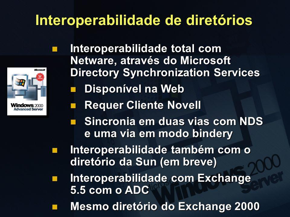 Interoperabilidade de diretórios Interoperabilidade total com Netware, através do Microsoft Directory Synchronization Services Interoperabilidade tota