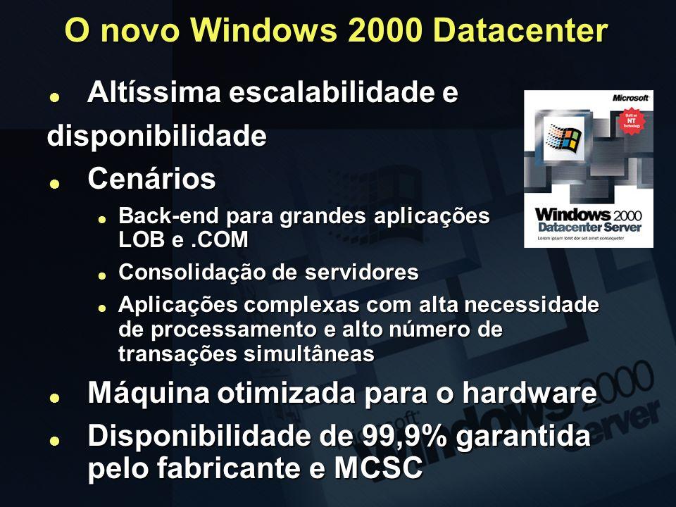 O novo Windows 2000 Datacenter Altíssima escalabilidade e Altíssima escalabilidade edisponibilidade Cenários Cenários Back-end para grandes aplicações