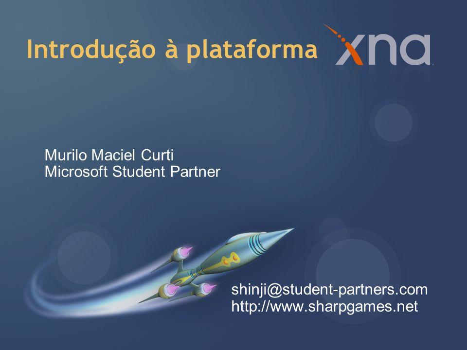 XNA XNA Game Studio Starter Kits XNA Framework Modelo de aplicação Content Pipeline Graphics Audio Input Armazenamento Matemática Desenvolvimento para Xbox 360
