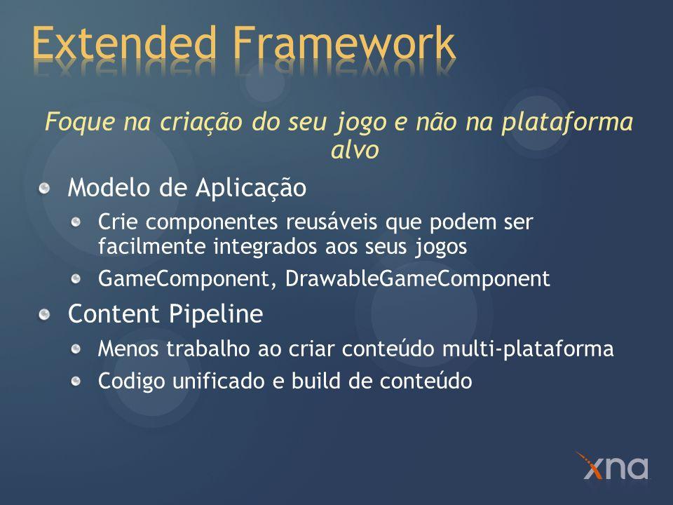 Graphics Desenvolvido sobre as APIs do Direct3D 9 seguindo o.Net Design Guidelines Audio Ferramenta XACT Multi-plataforma de fácil acesso Input Acesso imediato Suporta teclado, xbox 360 controller e mouse (Windows) Armazenamento Matemática