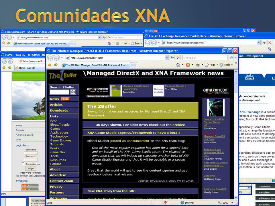 Recursos Sharp Games http://www.sharpgames.net http://www.sharpgames.net/Eventos.xna Creators Club http://creators.xna.com Fóruns http://forums.microsoft.com/msdn http://www.sharpgames.net/Forum.xna XNA Developer Center http://msdn.com/xna XNA blog http://blogs.msdn.com/xna Meu blog http://thespoke.net/blogs/shinji MSDN Guide: http://www.microsoft.com/danmark/msdn/guide/default.mspx