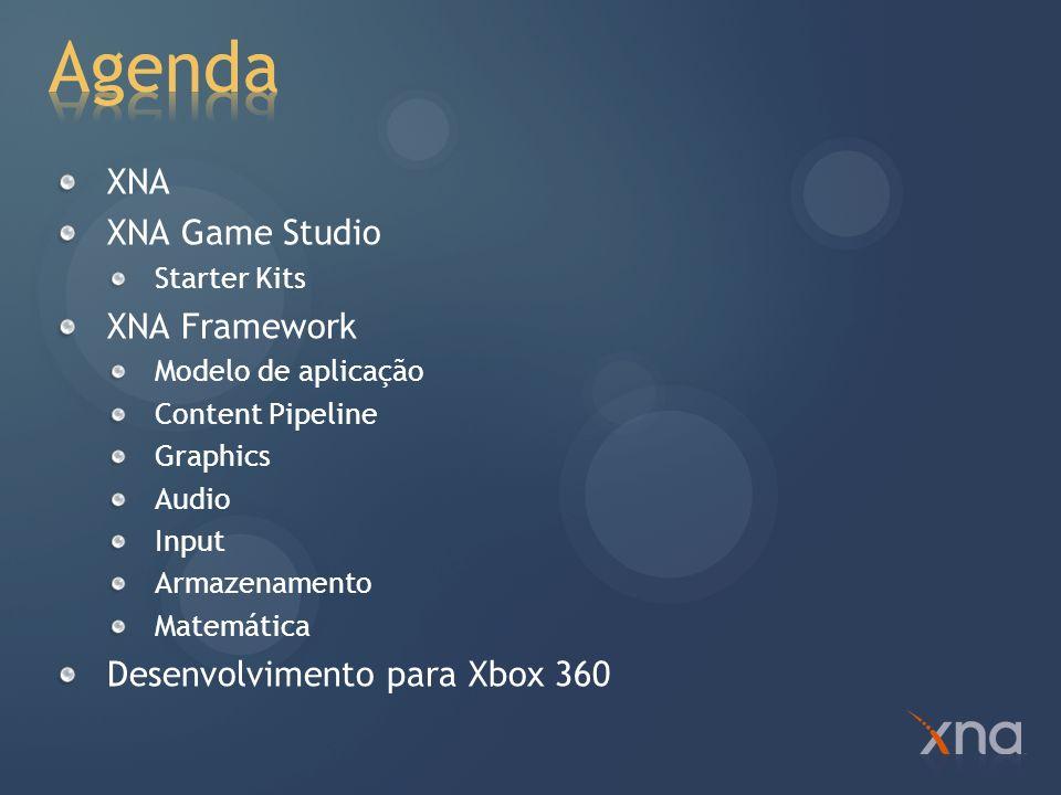 XNA s Not Acronymed (não é uma sigla) Plataforma de desenvolvimento de jogos com foco no jogo e não na tecnologia XNA Game Studio XNA Framework