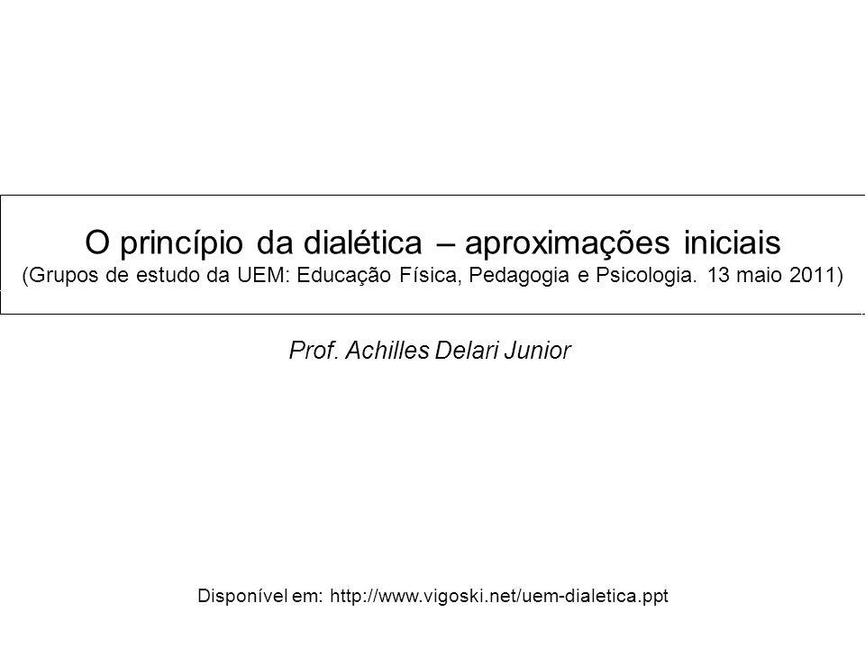 O princípio da dialética – aproximações iniciais (Grupos de estudo da UEM: Educação Física, Pedagogia e Psicologia. 13 maio 2011) Prof. Achilles Delar
