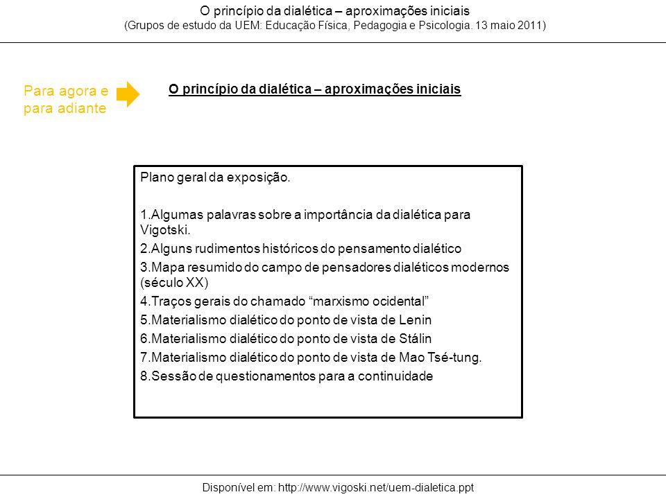 O princípio da dialética – aproximações iniciais O princípio da dialética – aproximações iniciais (Grupos de estudo da UEM: Educação Física, Pedagogia