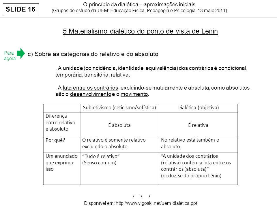 O princípio da dialética – aproximações iniciais (Grupos de estudo da UEM: Educação Física, Pedagogia e Psicologia. 13 maio 2011) 5 Materialismo dialé