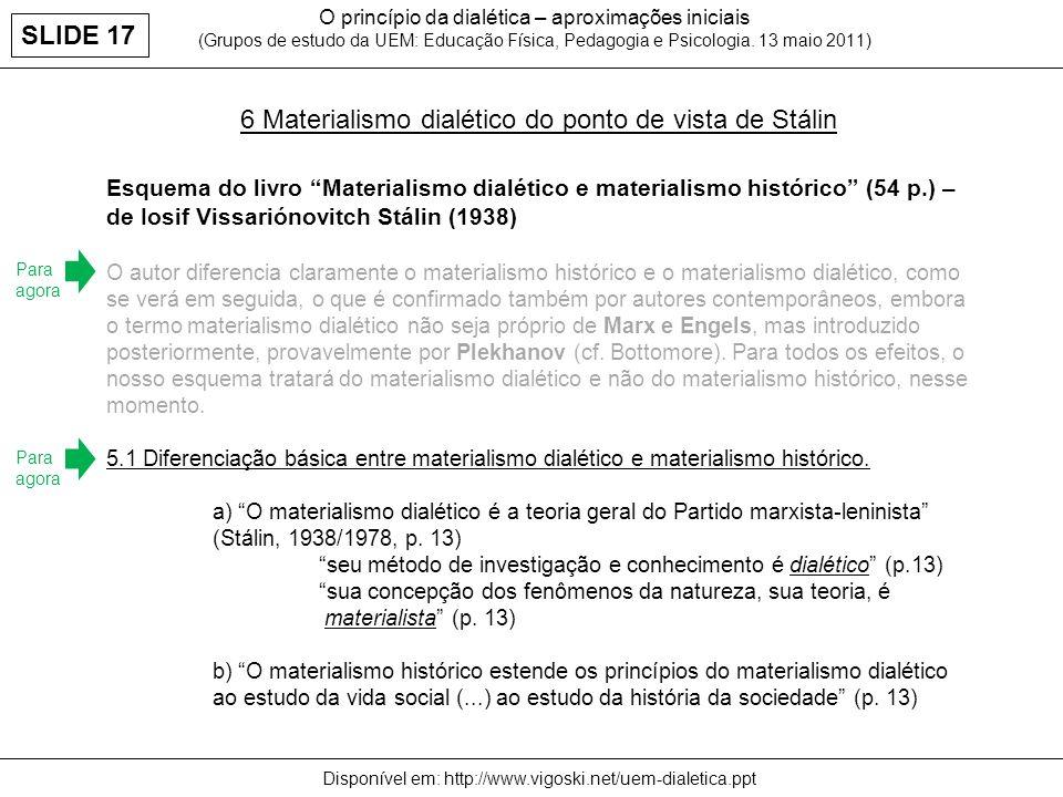 O princípio da dialética – aproximações iniciais (Grupos de estudo da UEM: Educação Física, Pedagogia e Psicologia. 13 maio 2011) Disponível em: http: