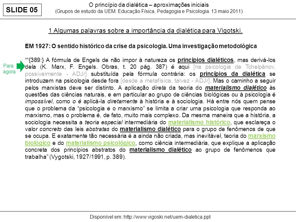 1 Algumas palavras sobre a importância da dialética para Vigotski. O princípio da dialética – aproximações iniciais (Grupos de estudo da UEM: Educação