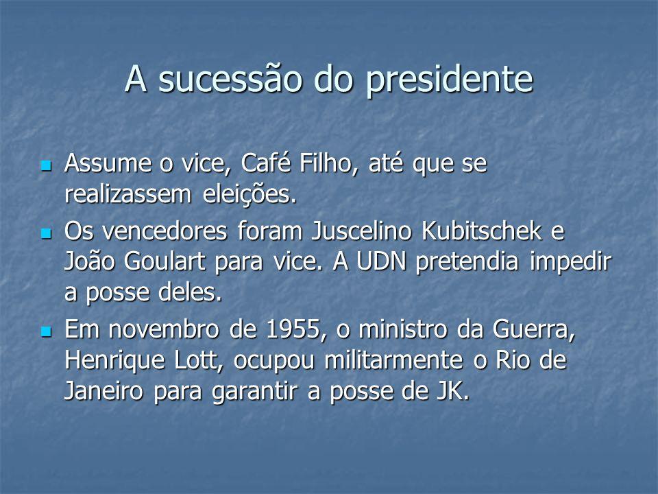 A sucessão do presidente Assume o vice, Café Filho, até que se realizassem eleições. Assume o vice, Café Filho, até que se realizassem eleições. Os ve