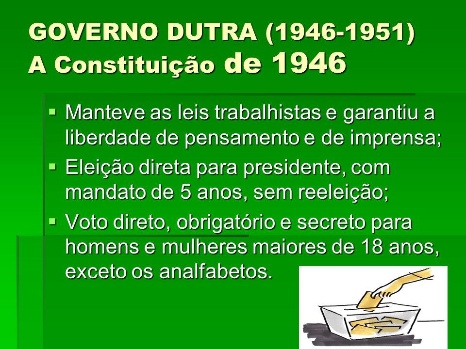 GOVERNO DUTRA (1946-1951) A Constituição de 1946 Manteve as leis trabalhistas e garantiu a liberdade de pensamento e de imprensa; Manteve as leis trab