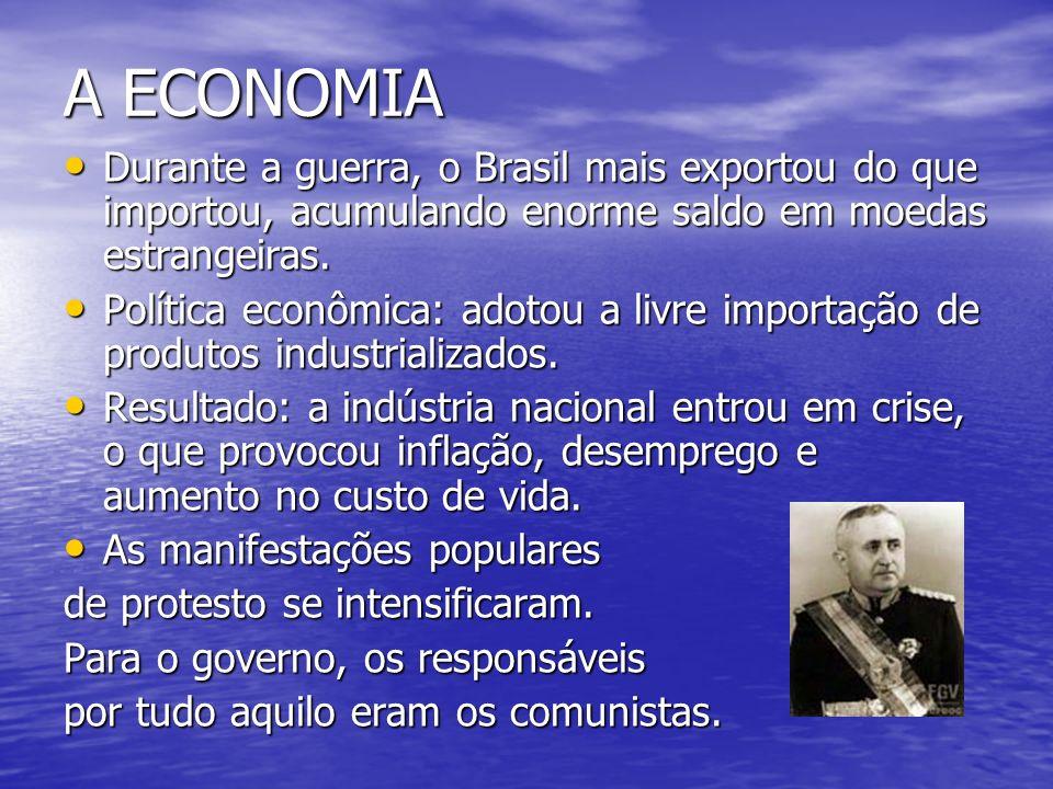 A ECONOMIA Durante a guerra, o Brasil mais exportou do que importou, acumulando enorme saldo em moedas estrangeiras. Durante a guerra, o Brasil mais e