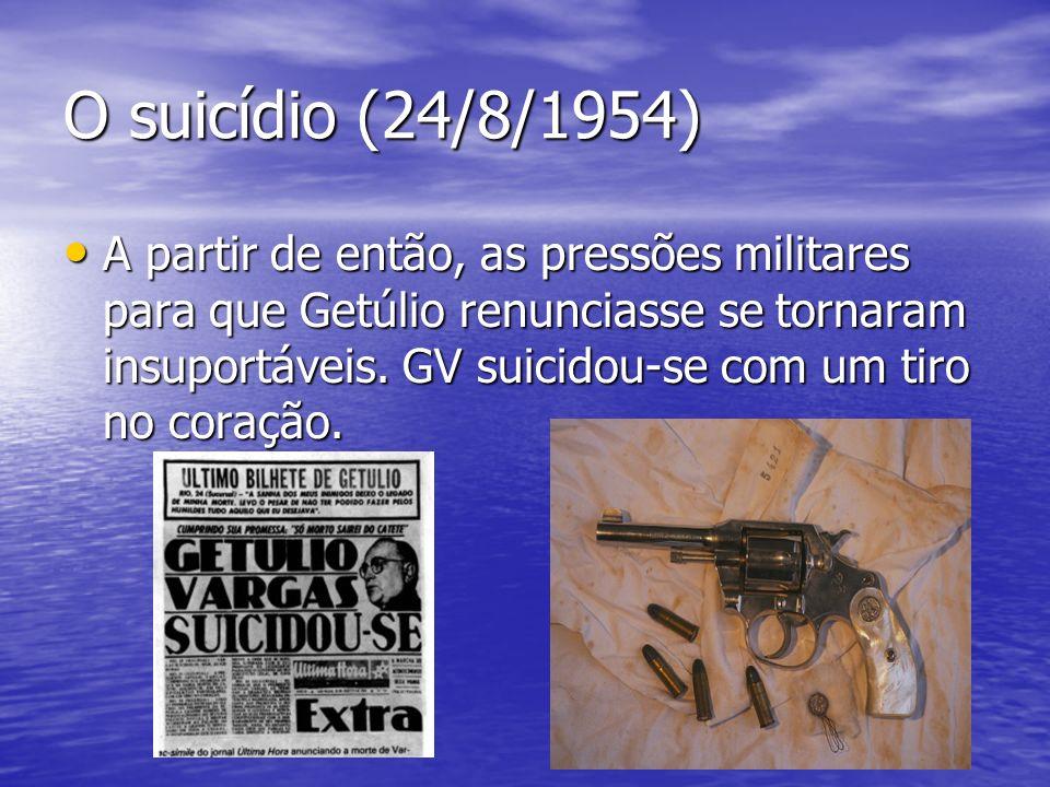O suicídio (24/8/1954) A partir de então, as pressões militares para que Getúlio renunciasse se tornaram insuportáveis. GV suicidou-se com um tiro no