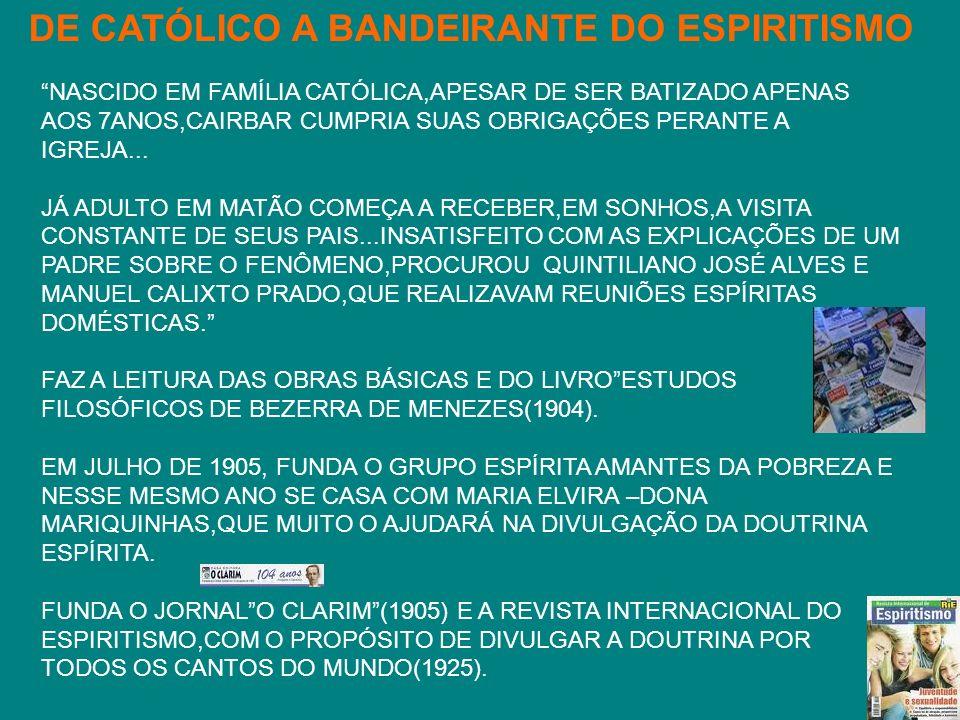 ...NOS MOMENTOS MAIS DIFÍCEIS DE NOSSAS ATIVIDADES DOUTRINÁRIAS OU ADMINISTRATIVAS,NAS ÚLTIMAS QUATRO DÉCADAS,CAIRBAR PESSOALMENTE OU ATRAVÉS DE UM DE SEUS COMPANHEIROS DE TRABALHO NA ESPIRITUALIDADE,DENTRE OS QUAIS IRMÃ SCHEILLA,ORIENTOU-NOS,SEMPRE ESPONTANEAMENTE,DE MANEIRA CORRETA,NA HORA CERTA,DEMONSTRANDO O ALTO NÍVEL DA SUA CONDIÇÃO ESPIRITUAL...