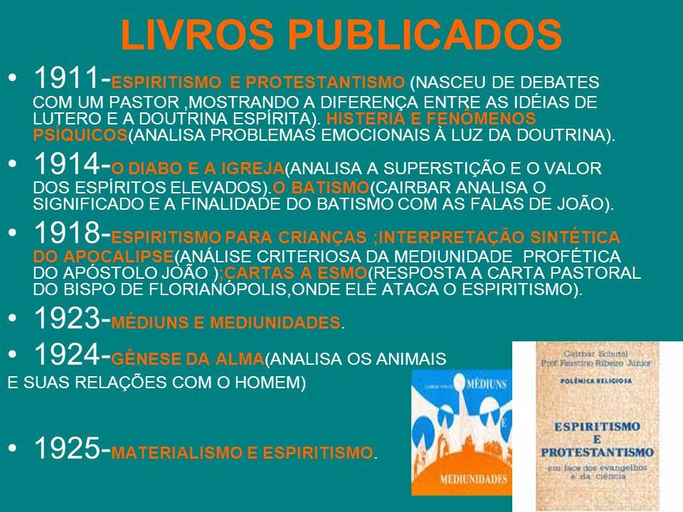 LIVROS PUBLICADOS 1911- ESPIRITISMO E PROTESTANTISMO (NASCEU DE DEBATES COM UM PASTOR,MOSTRANDO A DIFERENÇA ENTRE AS IDÉIAS DE LUTERO E A DOUTRINA ESP