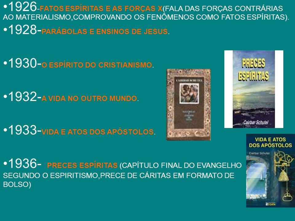 1937 - CONFERÊNCIAS RADIOFÔNICAS (ARTIGOS DE CAIRBAR LIDOS NA RÁDIODE ARARAQUARA) CAIRBAR TAMBÉM ESCREVEU:A QUESTÃO RELIGIOSA,LIBERDADE E PROGRESSO,PUREZA DOUTRINÁRIA E FENOMENOLOGIA DA REENCARNAÇÃO,ALÉM DAS CRÔNICAS E REPORTAGENS NO CORREIO PAULISTANO e PLATÉIA.TRADUZIU DE KARDEC,EM 1923,INSTRUÇÕES PRÁTICAS SOBRE AS MANIFESTAÇÕES ESPÍRITAS.