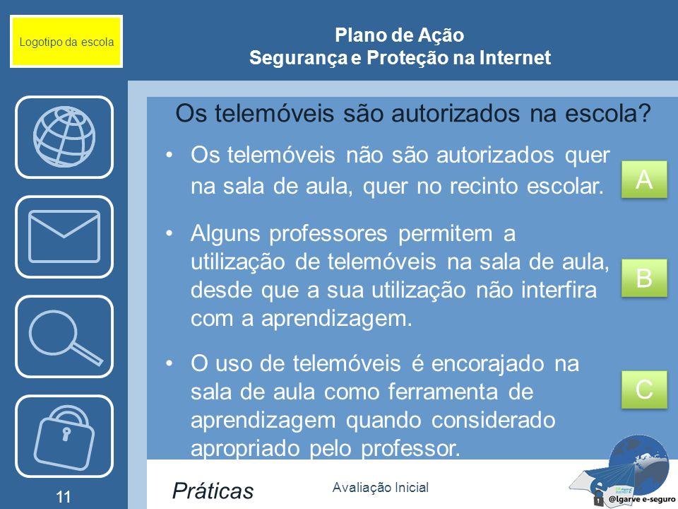 Avaliação Inicial 11 Logotipo da escola Plano de Ação Segurança e Proteção na Internet Os telemóveis são autorizados na escola? Os telemóveis não são