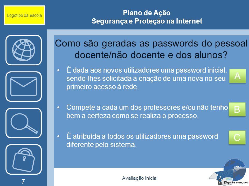 Avaliação Inicial 7 Logotipo da escola Plano de Ação Segurança e Proteção na Internet Como são geradas as passwords do pessoal docente/não docente e d