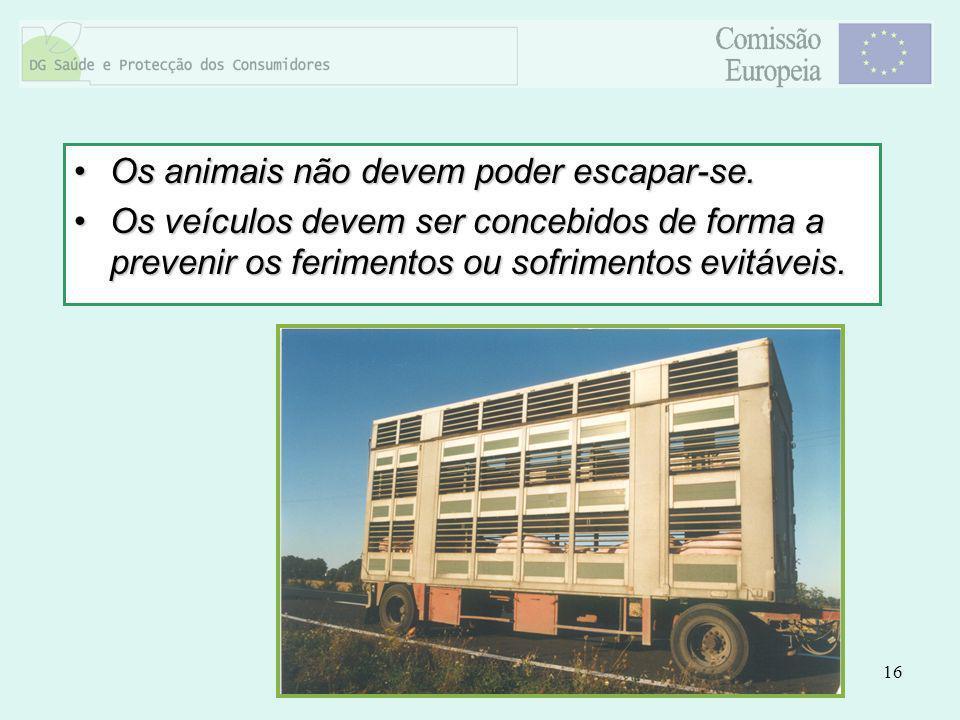 16 Os animais não devem poder escapar-se.Os animais não devem poder escapar-se. Os veículos devem ser concebidos de forma a prevenir os ferimentos ou