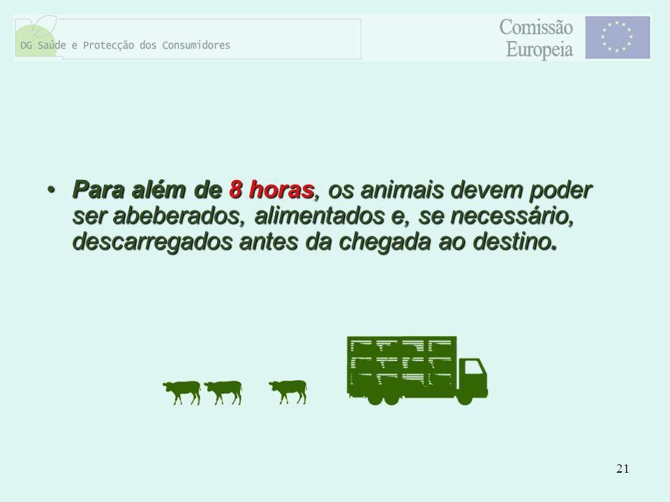 21 Para além de 8 horas, os animais devem poder ser abeberados, alimentados e, se necessário, descarregados antes da chegada ao destino.Para além de 8