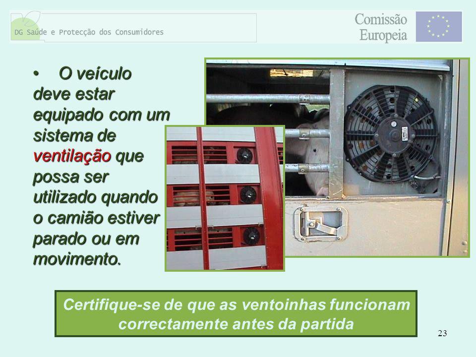23 O veículo deve estar equipado com um sistema de ventilação que possa ser utilizado quando o camião estiver parado ou em movimento. O veículo deve e