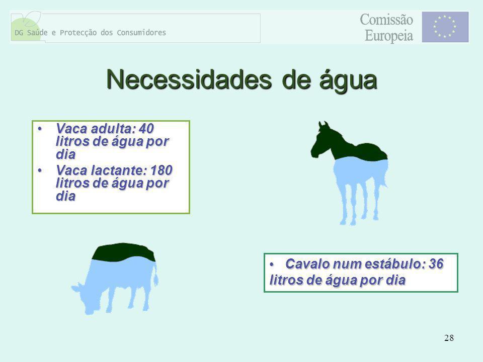 28 Vaca adulta: 40 litros de água por diaVaca adulta: 40 litros de água por dia Vaca lactante: 180 litros de água por diaVaca lactante: 180 litros de
