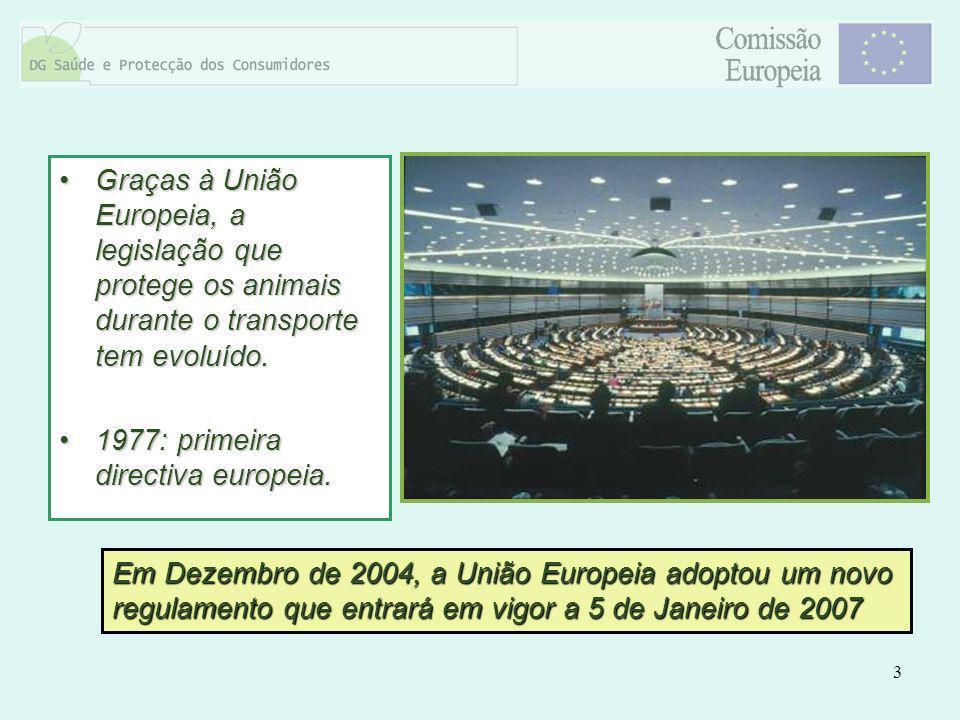 3 Graças à União Europeia, a legislação que protege os animais durante o transporte tem evoluído.Graças à União Europeia, a legislação que protege os