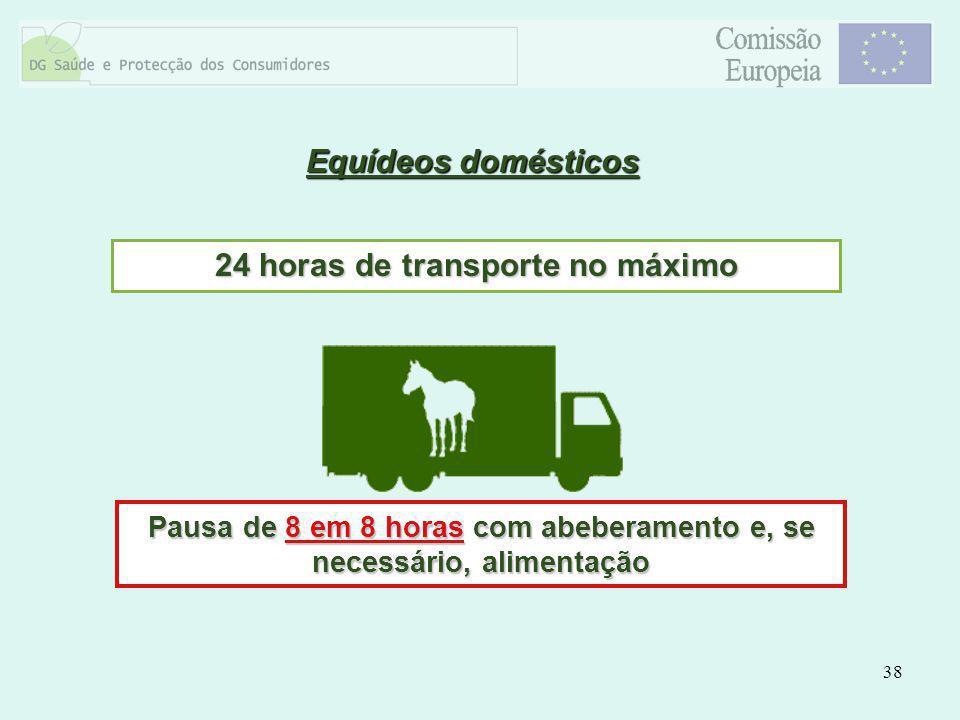 38 Equídeos domésticos 24 horas de transporte no máximo Pausa de 8 em 8 horas com abeberamento e, se necessário, alimentação