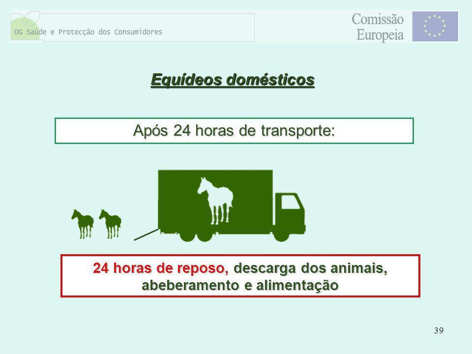 39 Equídeos domésticos Após 24 horas de transporte: 24 horas de reposo, descarga dos animais, abeberamento e alimentação