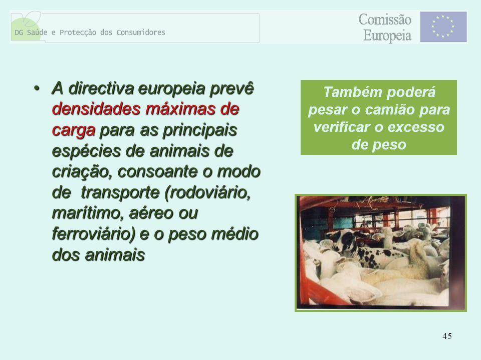 45 A directiva europeia prevê densidades máximas de carga para as principais espécies de animais de criação, consoante o modo de transporte (rodoviári