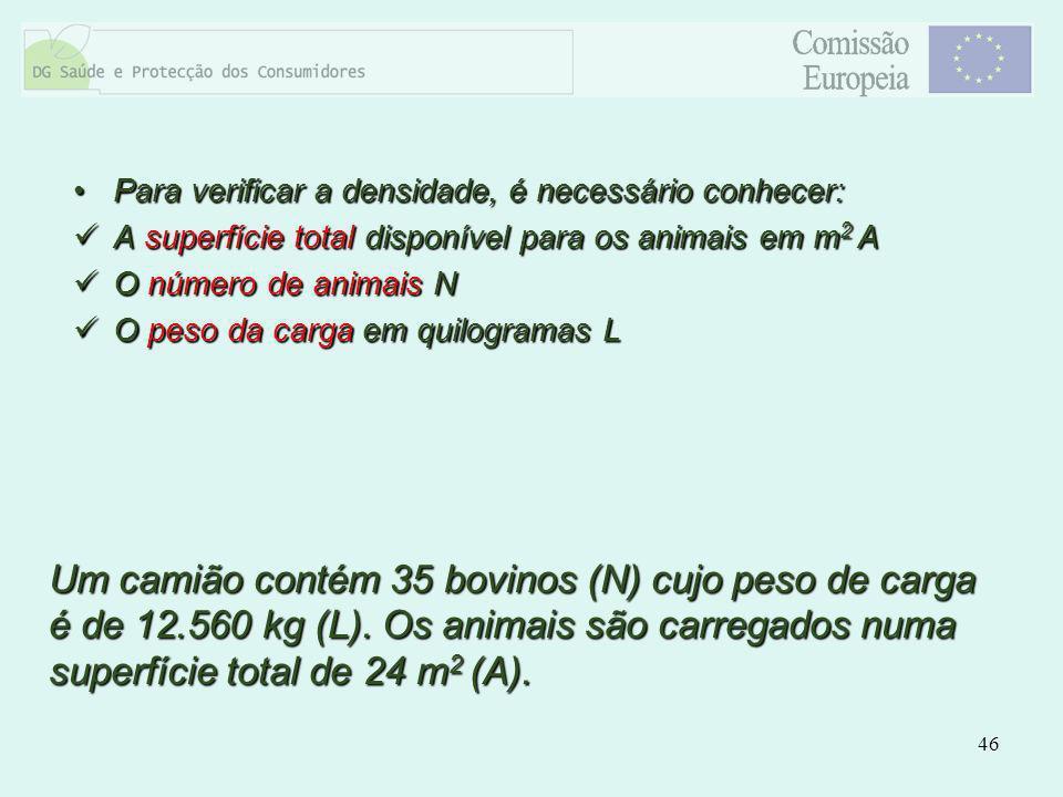 46 Para verificar a densidade, é necessário conhecer:Para verificar a densidade, é necessário conhecer: A superfície total disponível para os animais