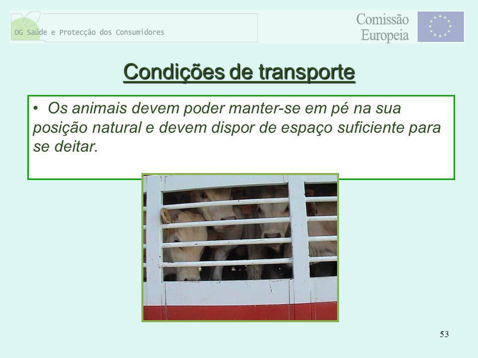 53 Os animais devem poder manter-se em pé na sua posição natural e devem dispor de espaço suficiente para se deitar. Condições de transporte