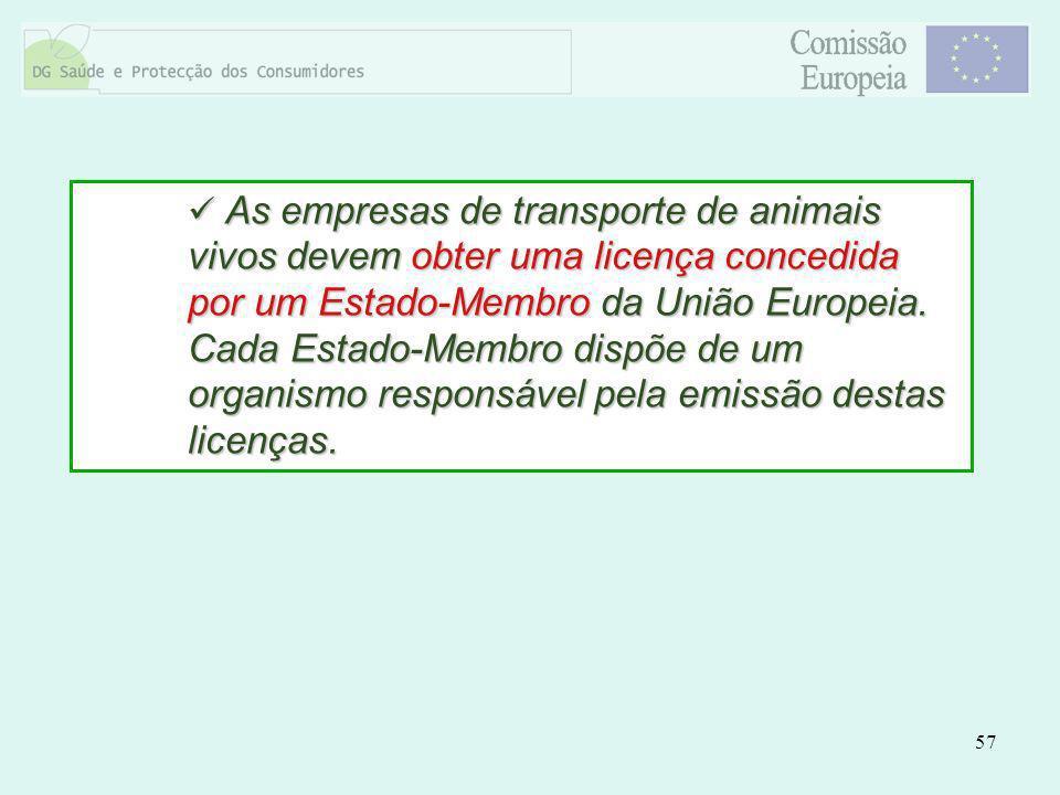 57 As empresas de transporte de animais vivos devem obter uma licença concedida por um Estado-Membro da União Europeia. Cada Estado-Membro dispõe de u