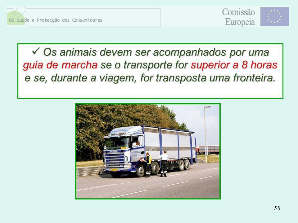 58 Os animais devem ser acompanhados por uma guia de marcha se o transporte for superior a 8 horas e se, durante a viagem, for transposta uma fronteir