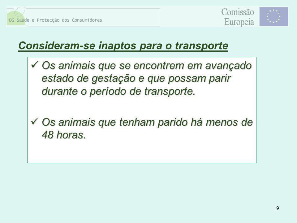 9 Os animais que se encontrem em avançado estado de gestação e que possam parir durante o período de transporte. Os animais que se encontrem em avança