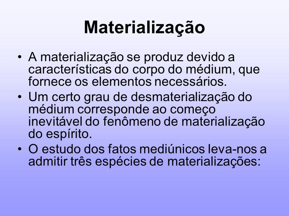 Materialização A materialização se produz devido a características do corpo do médium, que fornece os elementos necessários. Um certo grau de desmater