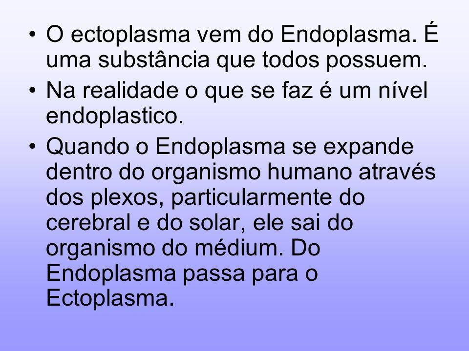 O ectoplasma vem do Endoplasma. É uma substância que todos possuem. Na realidade o que se faz é um nível endoplastico. Quando o Endoplasma se expande