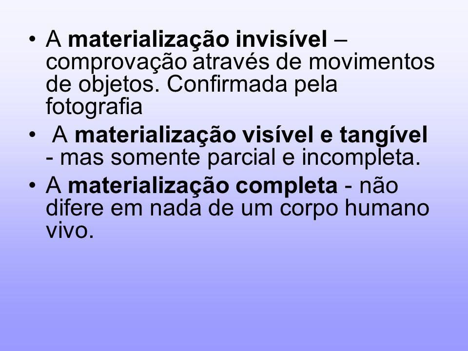 A materialização invisível – comprovação através de movimentos de objetos. Confirmada pela fotografia A materialização visível e tangível - mas soment