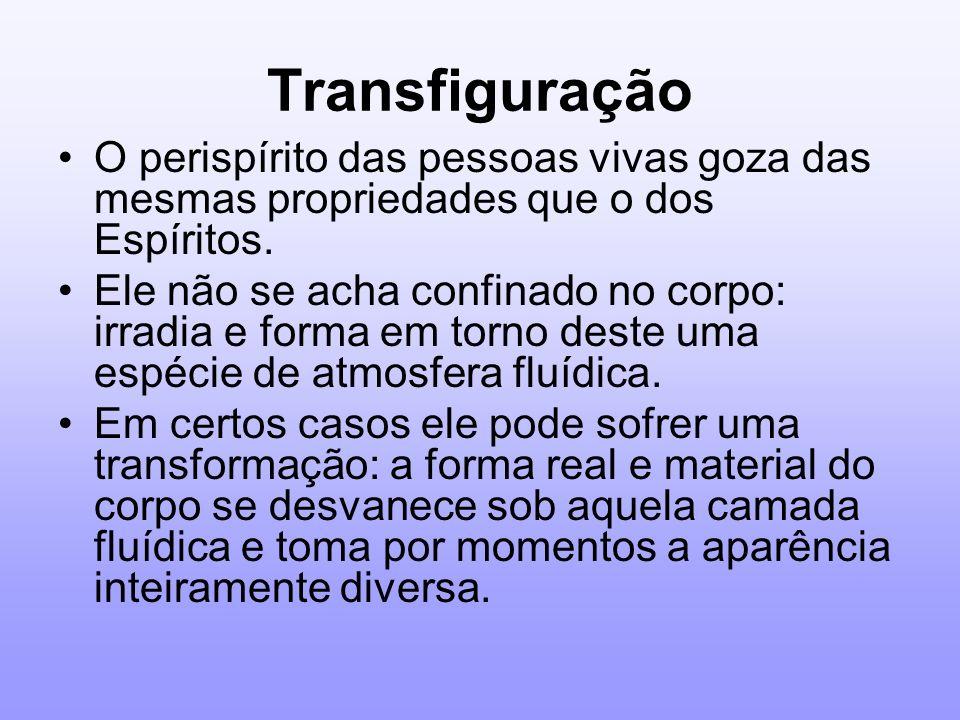 Transfiguração O perispírito das pessoas vivas goza das mesmas propriedades que o dos Espíritos. Ele não se acha confinado no corpo: irradia e forma e