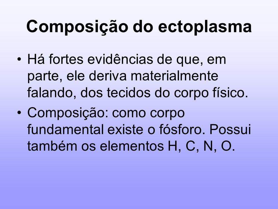 Composição do ectoplasma Há fortes evidências de que, em parte, ele deriva materialmente falando, dos tecidos do corpo físico. Composição: como corpo