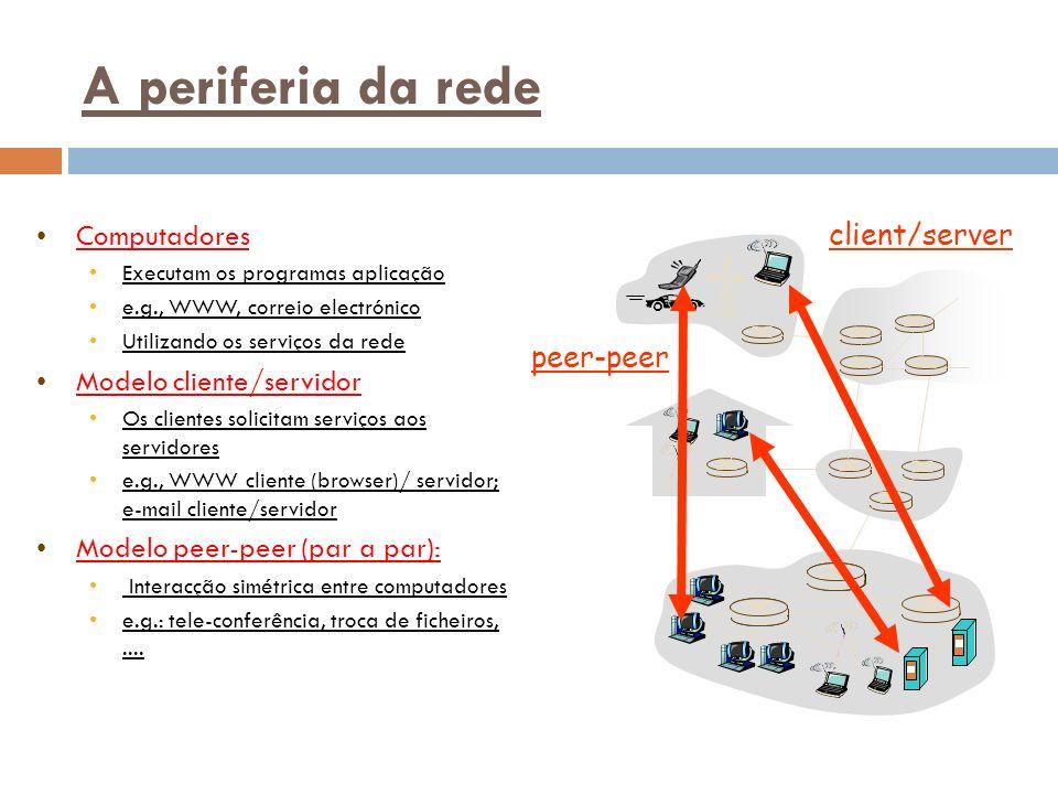 A periferia da rede Computadores Executam os programas aplicação e.g., WWW, correio electrónico Utilizando os serviços da rede Modelo cliente/servidor Os clientes solicitam serviços aos servidores e.g., WWW cliente (browser)/ servidor; e-mail cliente/servidor Modelo peer-peer (par a par): Interacção simétrica entre computadores e.g.: tele-conferência, troca de ficheiros,....