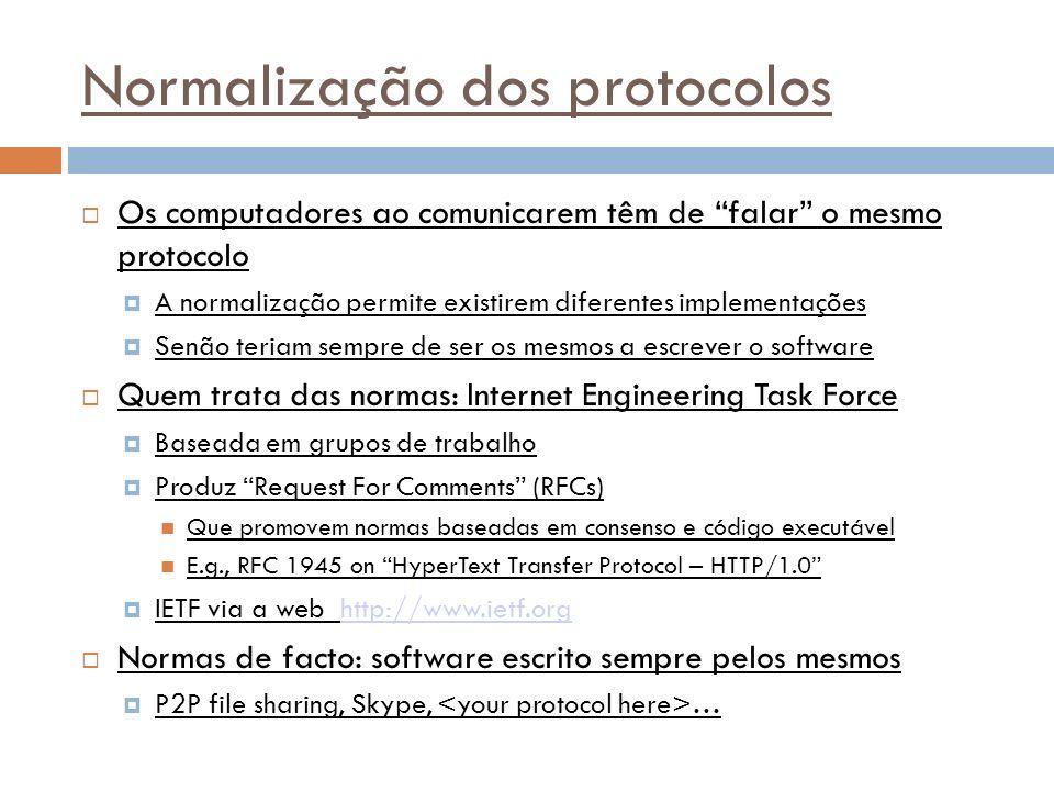 27 Normalização dos protocolos Os computadores ao comunicarem têm de falar o mesmo protocolo A normalização permite existirem diferentes implementações Senão teriam sempre de ser os mesmos a escrever o software Quem trata das normas: Internet Engineering Task Force Baseada em grupos de trabalho Produz Request For Comments (RFCs) Que promovem normas baseadas em consenso e código executável E.g., RFC 1945 on HyperText Transfer Protocol – HTTP/1.0 IETF via a web http://www.ietf.orghttp://www.ietf.org Normas de facto: software escrito sempre pelos mesmos P2P file sharing, Skype, …